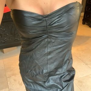 Faux leather strapless dress size sm